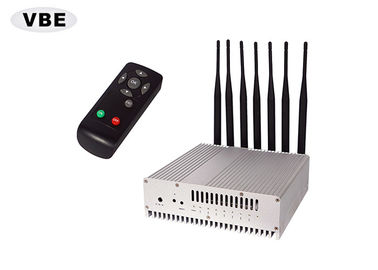 China 7 Brands 16W GPS Signal Jammer Remote Control VHF / UHF / GSM Silver Color supplier