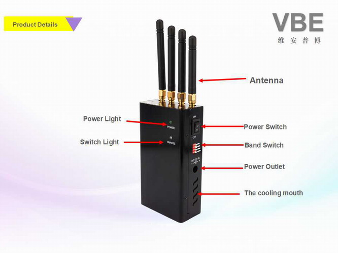 0.4kg Light Weight Handheld Signal Jammer 4W Output Large Jamming Frequency Ranges