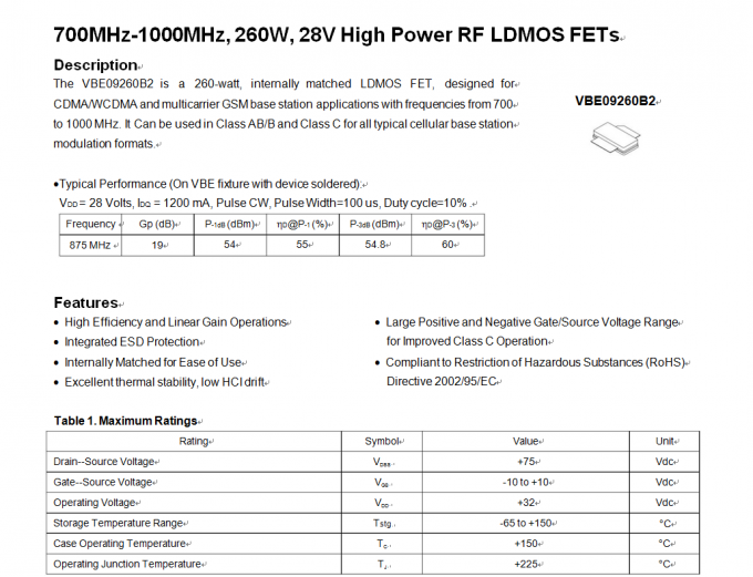 700-1000MHz LDMOS FETs RF High Power Transistors 28V 260W With  Integrated ESD Protection